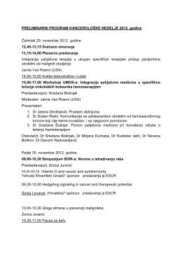 PRELIMINARNI PROGRAM KANCEROLOŠKE NEDELJE 2012