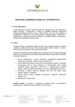 pravilnik o odobrenju donacija i sponzorstava