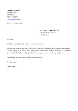 MARKO MARIĆ Krešimirova 22 51000 Rijeka Mob. 091