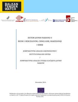 sistem javnih nabavki u bosni i hercegovini, crnoj gori, makedoniji i