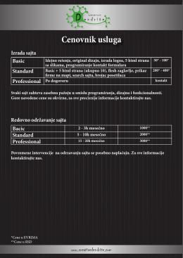 Cenovnik usluga - Creative Dendrite