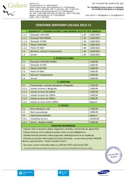 CENOVNIK SERVISNIH USLUGA 2013-11