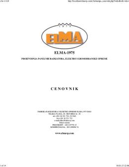 Kompletan cenovnik (.pdf) - ELMA - 1975 fabrika za proizvodnju