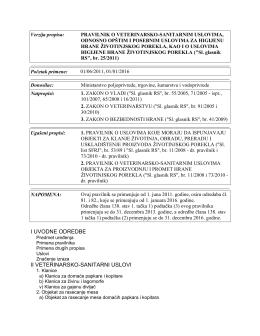pravilnik o veterinarsko-sanitarnim uslovima, odnosno opštim i