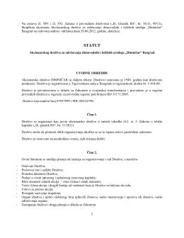 Predlog statuta - Dimničar AD Beograd