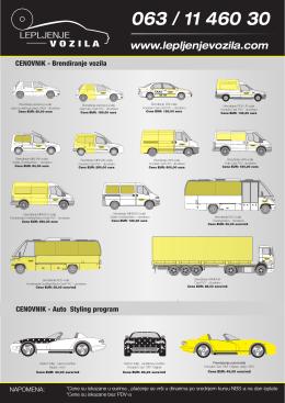 cenovnik - Lepljenje vozila