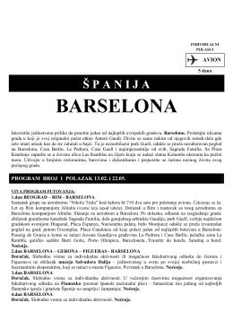 Barselona avio sezona 2014.godina cenovnik 2