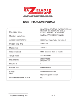 identifikacioni podaci - Auto škola Gazela Kar