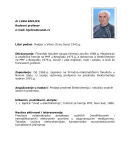 dr Luka Bjelica, redovni profesor