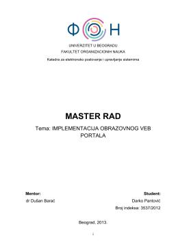 Master rad – Darko_Pantovic - Katedra za elektronsko poslovanje