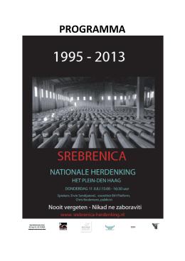 programmaboekje Srebrenica-herdenking 2013