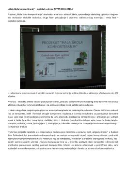 """""""Mala škola kompostiranja"""" – projekat u okviru"""