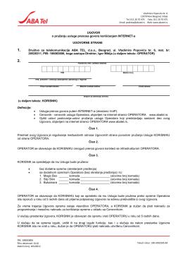 Korisnički ugovor za pravna lica