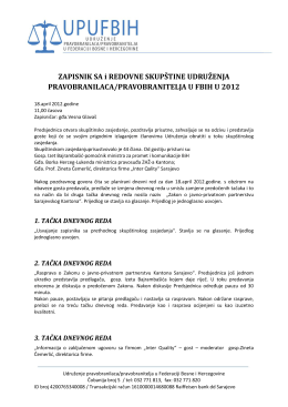 Zapisnik sa skupštine - Udruženje pravobranilaca u Federaciji