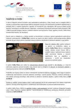 Saopštenje za medije - Opština Velika Plana