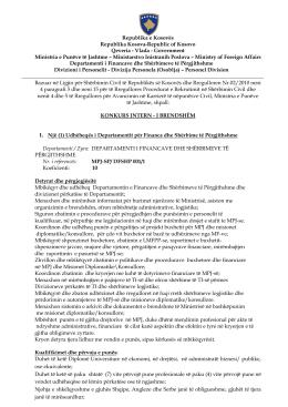 KONKURS INTERN - I BRENDSHËM 1. Një (1)