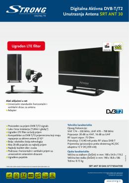 Digitalna Aktivna DVB-T/T2 Unutrasnja Antena SRT ANT 30