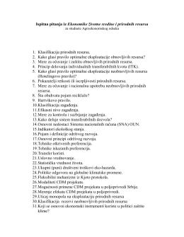 Ispitna pitanja iz predmeta EKONOMIKA PRIRODNIH RESURSA I