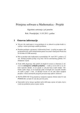 Primjena software-a Mathematica - Projekt