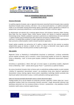 poziv za podnošenje predloga projekta za marketinške akcije