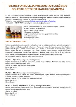 biljne formule za prevenciju i liječenje bolesti i detoksifikaciju