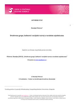 Društvene grupe, kulturni i socijalni razvoj u ruralnim zajednicama