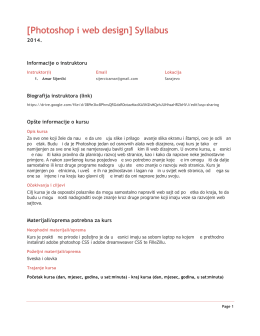 [Photoshop i web design] Syllabus