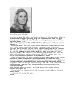 Prof. dr Danica Popov (1932-2003) Danica Popov je rođena 1932