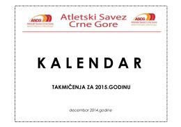 Kalendar takmicenja u ASCG za 2015.godinu