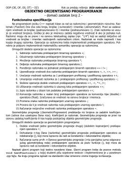 Drugi domaći zadatak iz OOP, 2011/2012