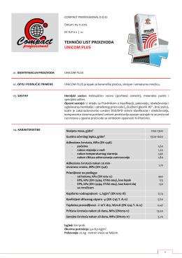 Tehnički list proizvoda - compact professional doo