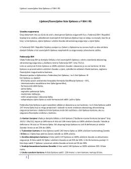 Lijekovi/Esencijalne liste lijekova u F BiH i RS