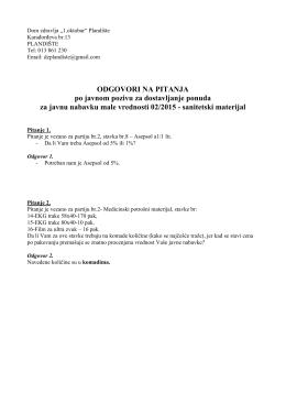 Pitanja i odgovori vezani za JNMV 2/2015