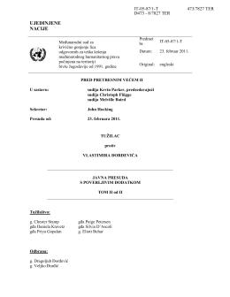 Presuda Pretresnog veća MKSJ u predmetu Đorđević, Tom II
