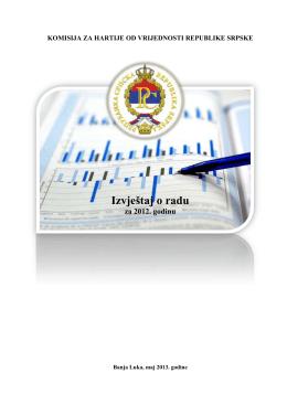Izvještaj o radu - Komisija za hartije od vrijednosti Republike Srpske