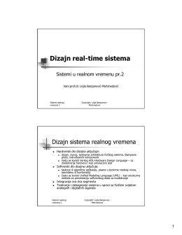 Dizajn real-time sistema - Vanr.prof.dr. Lejla Banjanović