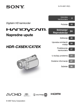 SONY - HDR-CX6EK_CX7EK Digitalni HD kamkorder