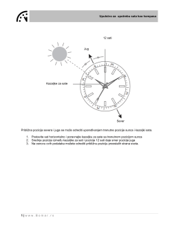 Uputstvo za upotrebu sata kao kompasa 1 | www.Bomar.rs Približna
