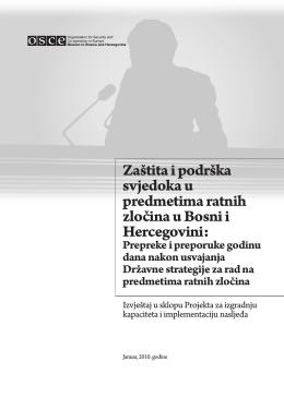 Izvještaj - Zaštita i podrška svjedoka u predmetima ratnih zločina u
