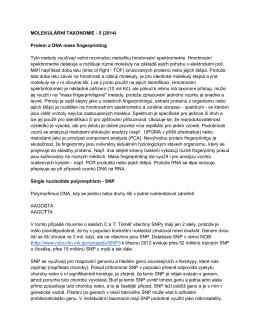 MOLEKULÁRNÍ TAXONOMIE - 5 (2014) Protein a