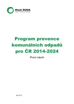 Program prevence komunálních odpadů pro ČR 2014