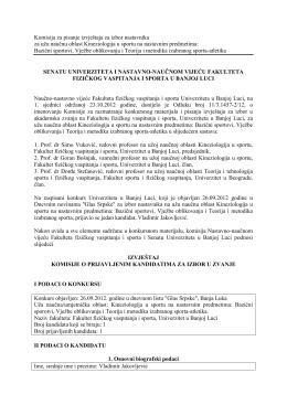 Komisija za pisanje izvještaja za izbor nastavnika za užu naučnu