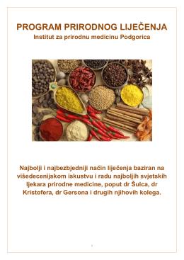 program prirodnog liječenja - Institut za prirodnu medicinu Podgorica