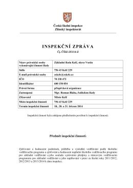Zpráva České školní inspekce
