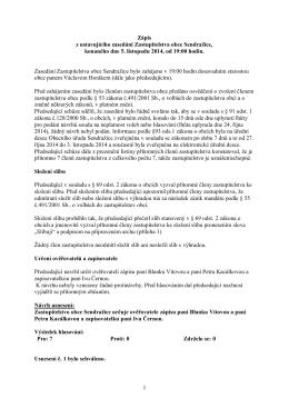 Zápis a usnesení 5.11.2014