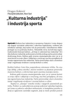 """Dragan Koković, """"`Kulturna industrija` i industrija sporta"""""""