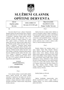 """""""Službeni glasnik opštine Derventa"""", broj : 3/13"""