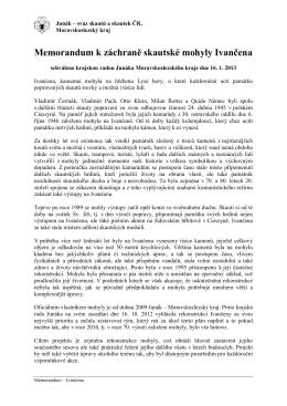 Memorandum Ivančena - Krajská rada Junáka MSK