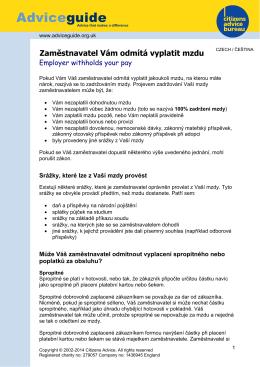 Zaměstnavatel Vám odmítá vyplatit mzdu