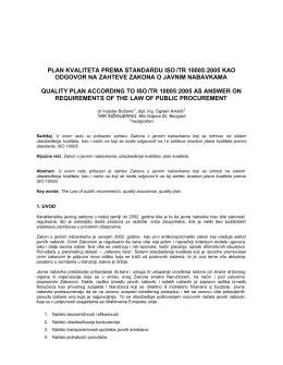 plan kvaliteta prema standardu iso /tr 10005:2005 kao odgovor na